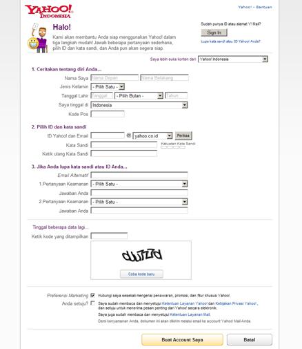 Mengisi Formulir Akun Email Yahoo