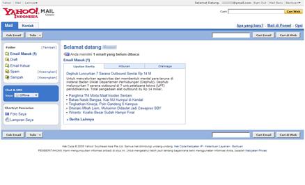 Halaman utama akun Yahoo! Mail