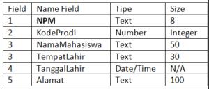 Struktur tabel Mahasiswa