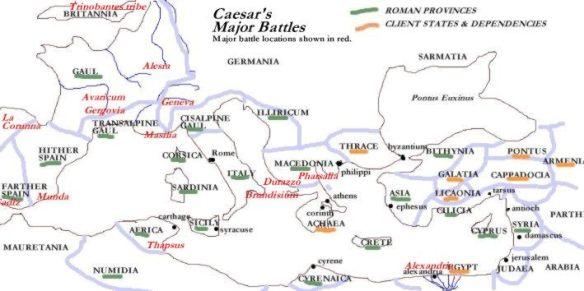 Peta Peperangan Julius caesar