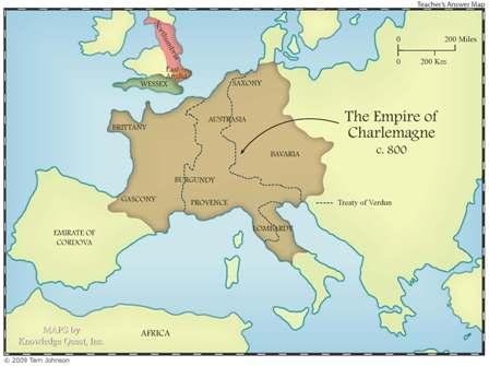 Peta Wilayah kekuasaan Charlemagne