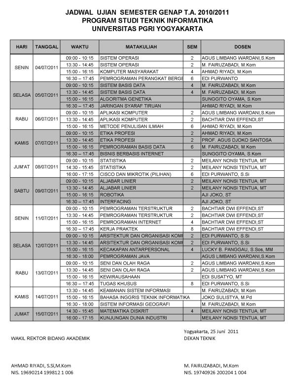 Jadwal UAS Prodi Teknik Informatika UPY 2010/2011 Semester Genap